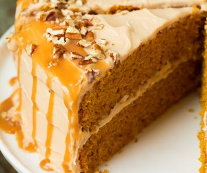 Browned Butter Pumpkin Cake with Salted Caramel Frosting | Cooking Classy