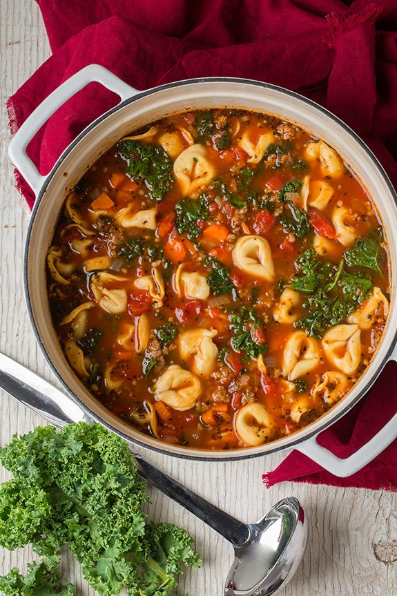 Italian Sausage, Kale and Tortellini Soup