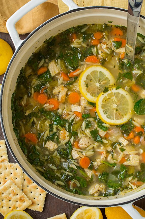 Lemon Chicken And Spinach Orzo Soup Cooking Classy
