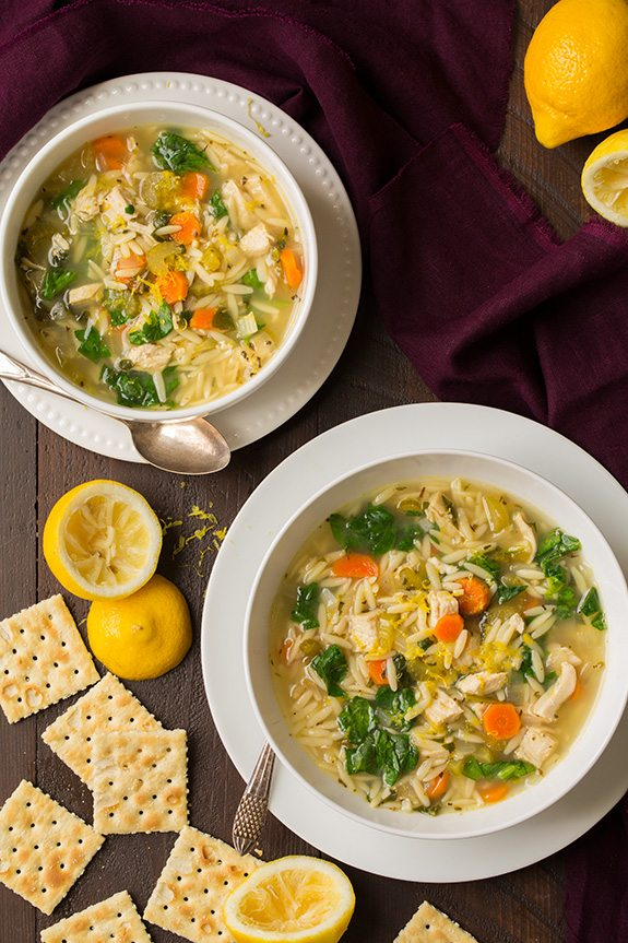 Lemon Chicken and Spinach Orzo Soup - Cooking Classy