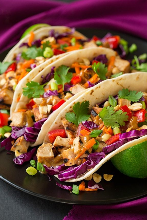 Thai Chicken Tacos with Peanut Sauce | Cooking Classy