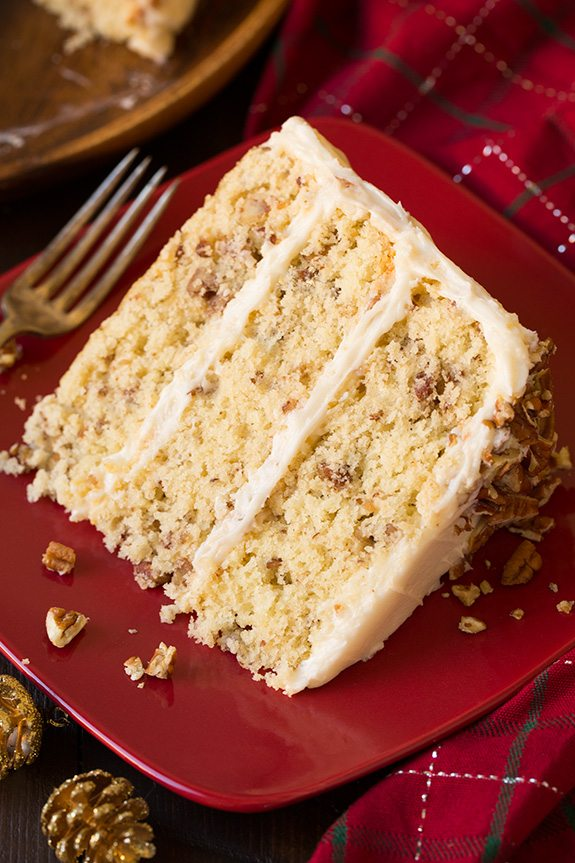 Butter Pecan Cake slice on a red plate.