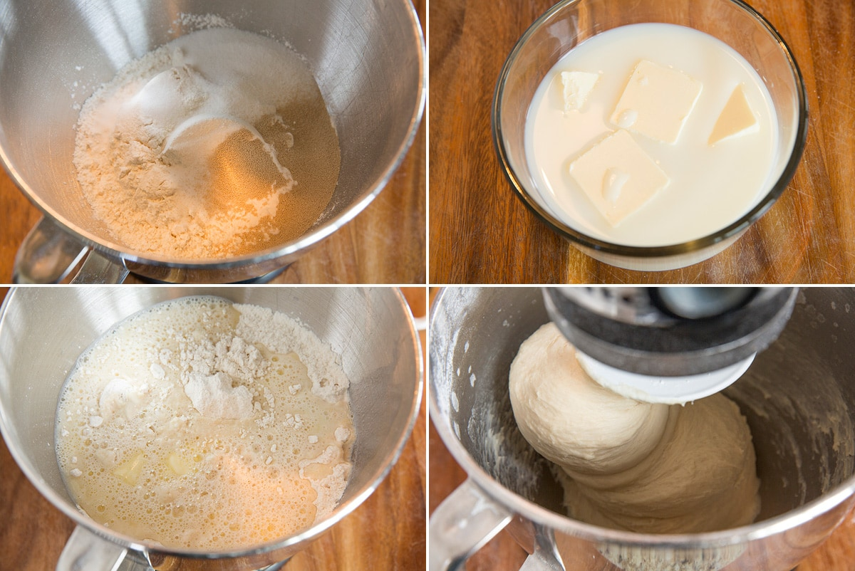 Image showing steps how to make dinner roll dough.