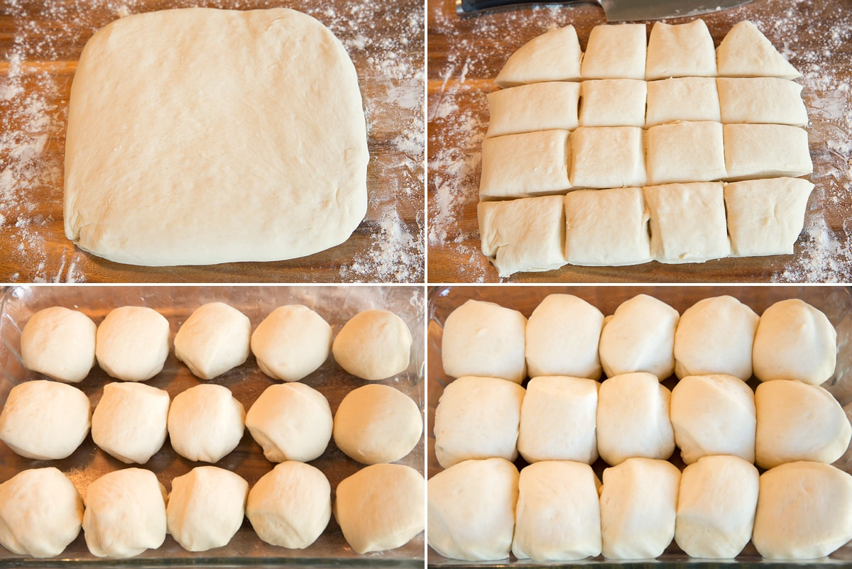 Image showing steps to rolling, cutting and shaping dinner rolls, then showing after rising.