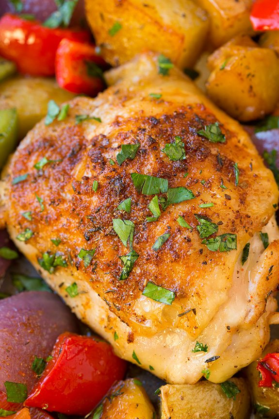 Close up image of seasoned baked chicken thigh.