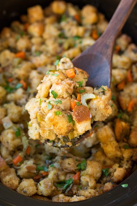 Close up image of a scoop of stuffing.