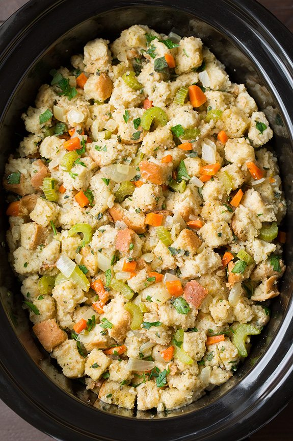 Stuffing in slow cooker before cooking.