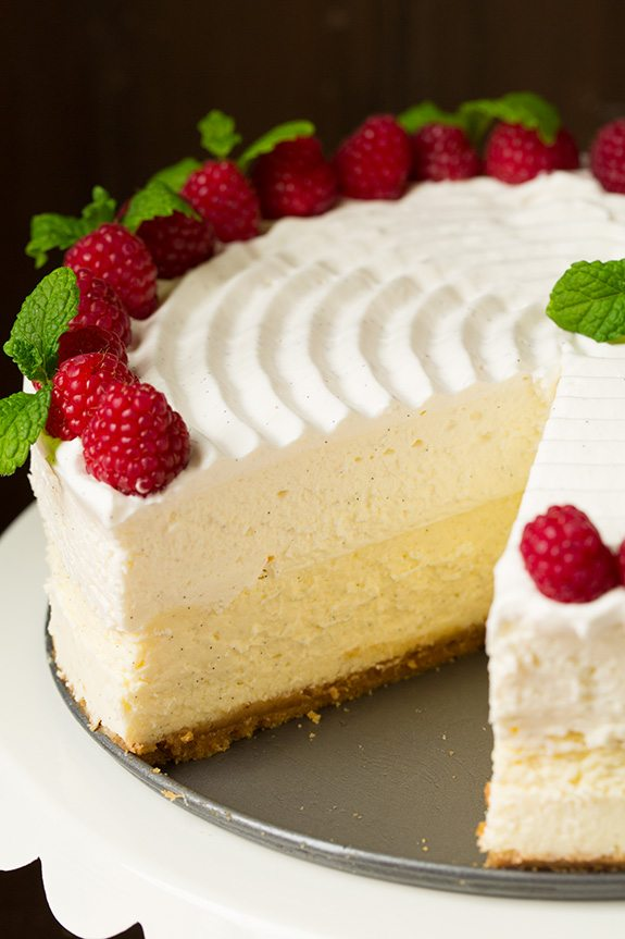 Side image of cheesecake factory copycat cheesecake.