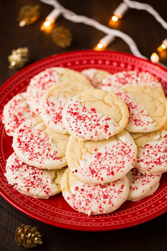 White Chocolate Dipped Peppermint Sugar Cookies - Cooking
