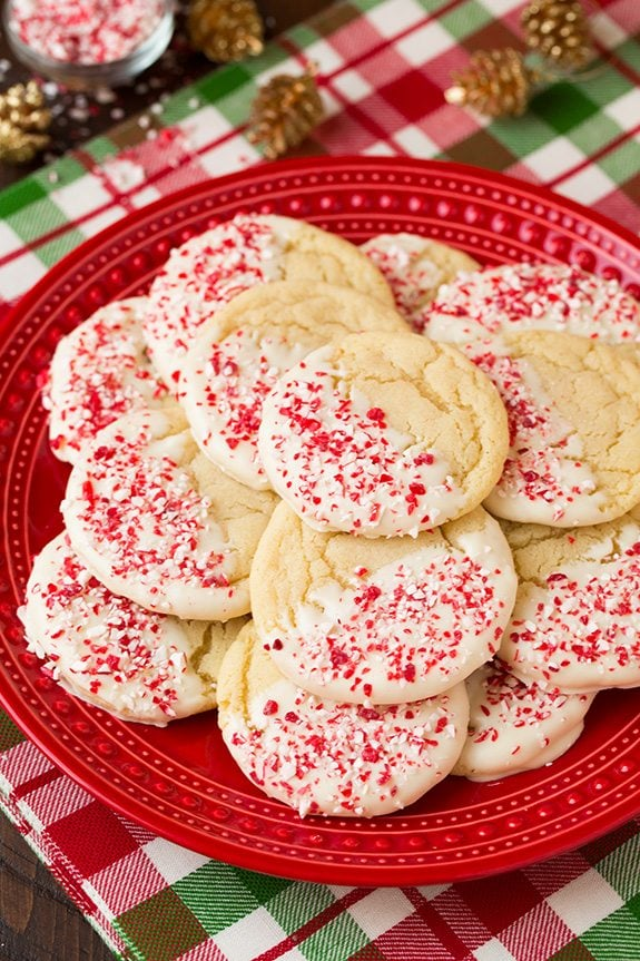 White Chocolate Dipped Peppermint Sugar Cookies | Cooking Classy
