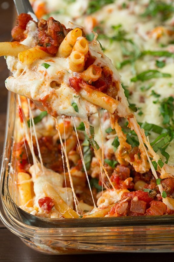 Hot cheesy bite of easy Baked Ziti