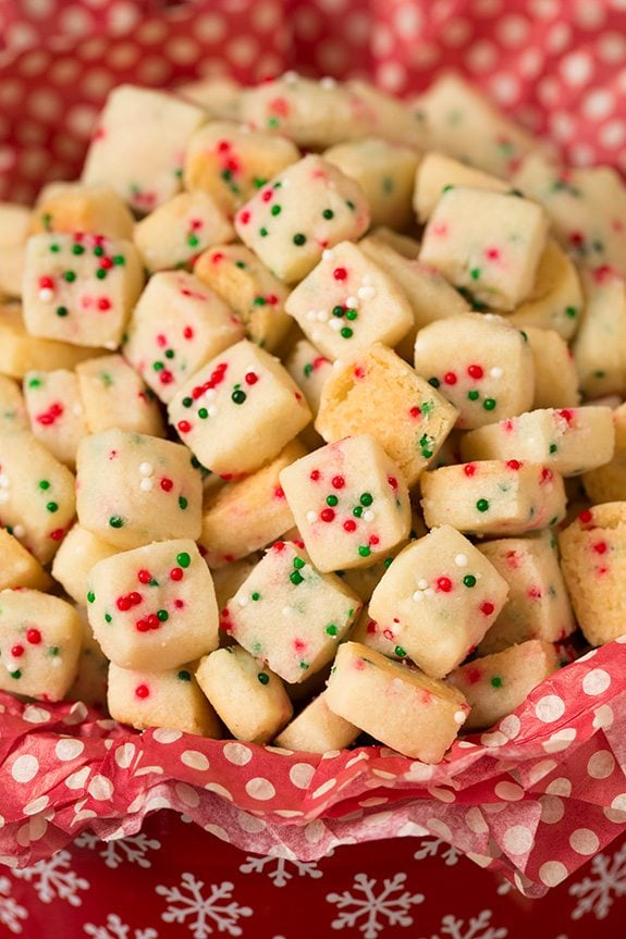 christmas shortbread bites in a red tin - Christmas Sprinkles