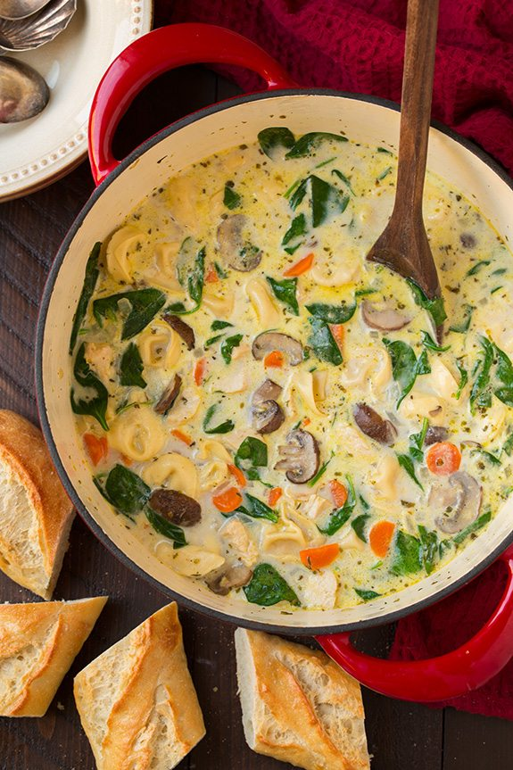 Creamy Chicken, Spinach and Mushroom Tortellini Soup | Cooking Classy