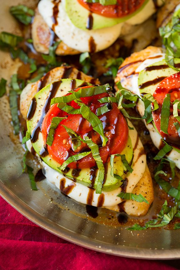 caprese mozzarella chicken with avocado