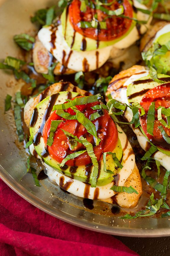 Caprese Chicken Topped with mozzarella and avocado
