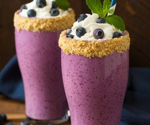 Blueberry Cheesecake Protein Breakfast Shake | Cooking Classy