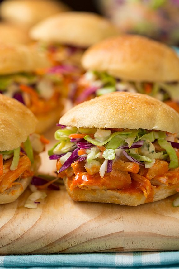 Buffalo Chicken Sliders with Blue Cheese Coleslaw | Cooking Classy