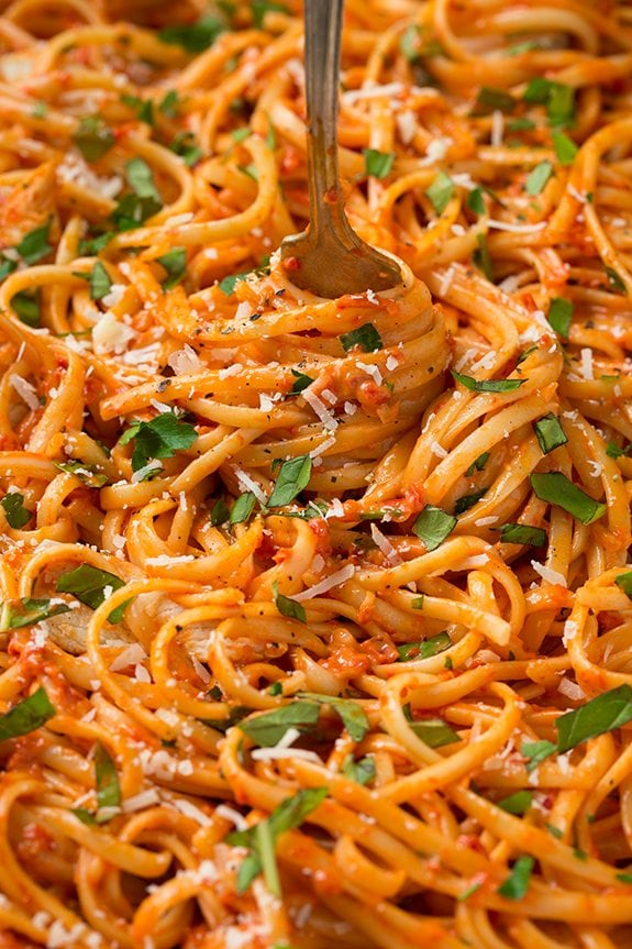 Close up image of creamy Roasted Red Pepper Pasta with Grilled Chicken \