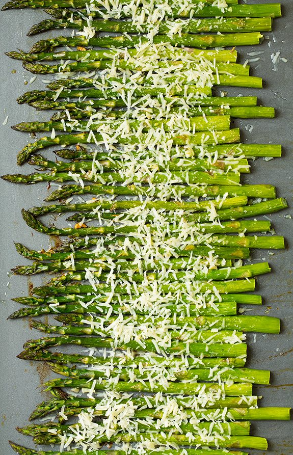 Roasted Parmesan Asparagus on baking tray