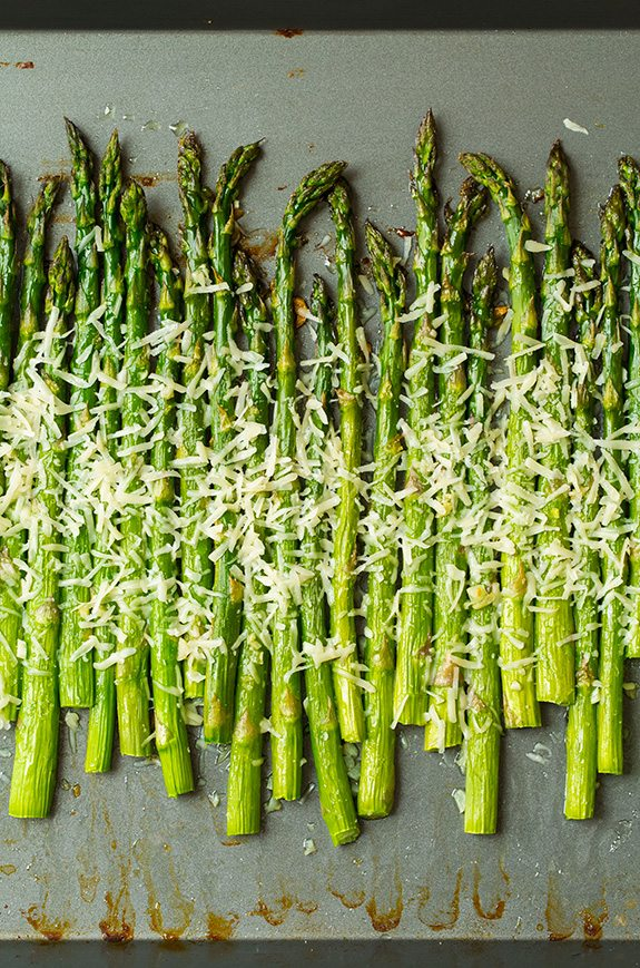 Roasted Parmesan Asparagus on metal baking tray