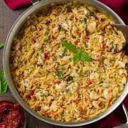 Sun Dried Tomato Basil and Parmesan Orzo with Chicken | Cooking Classy