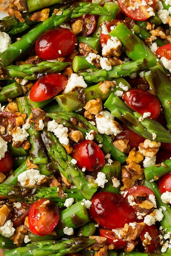 Close up of an Asparagus, Tomato and Feta Salad with Balsamic Vinaigrette