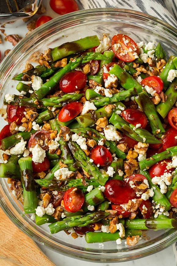 An overhead shot of an Asparagus, Tomato and Feta Salad