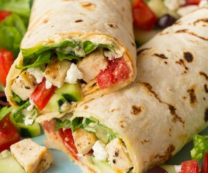 Greek Grilled Chicken and Hummus Wrap | Cooking Classy
