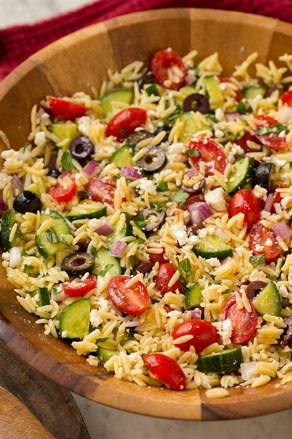 Greek Orzo With Feta In Bowl