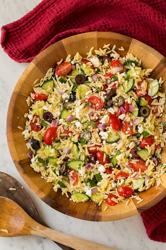 Greek Orzo Salad In Bowl With Feta