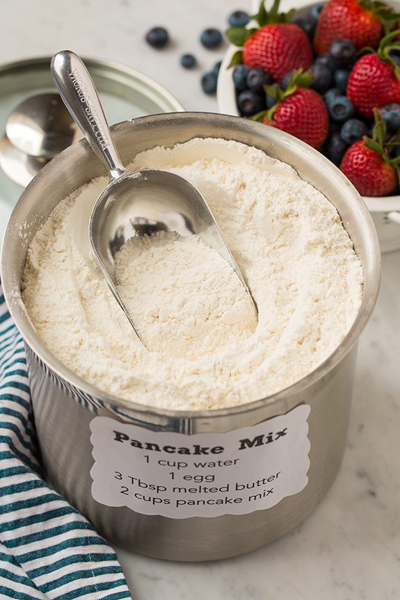 Homemade Pancake Mix in stainless steel container with scoop
