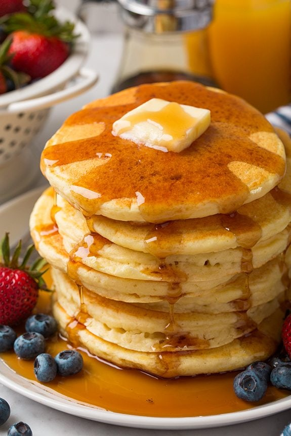 Stack of Pancakes with Butter and Syrup made from homemade Pancake Mix Recipe