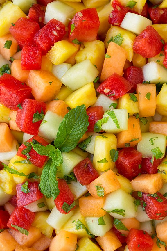 Melon And Pineapple Fruit Salad With Honey Lime And Mint