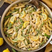 One Pan Creamy Lemon Pasta with Chicken and Asparagus | Cooking Classy.