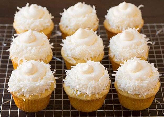 Showing how to make Piña Colada Cupcakes