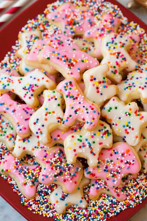 Homemade Circus Animal Cookies on red plate