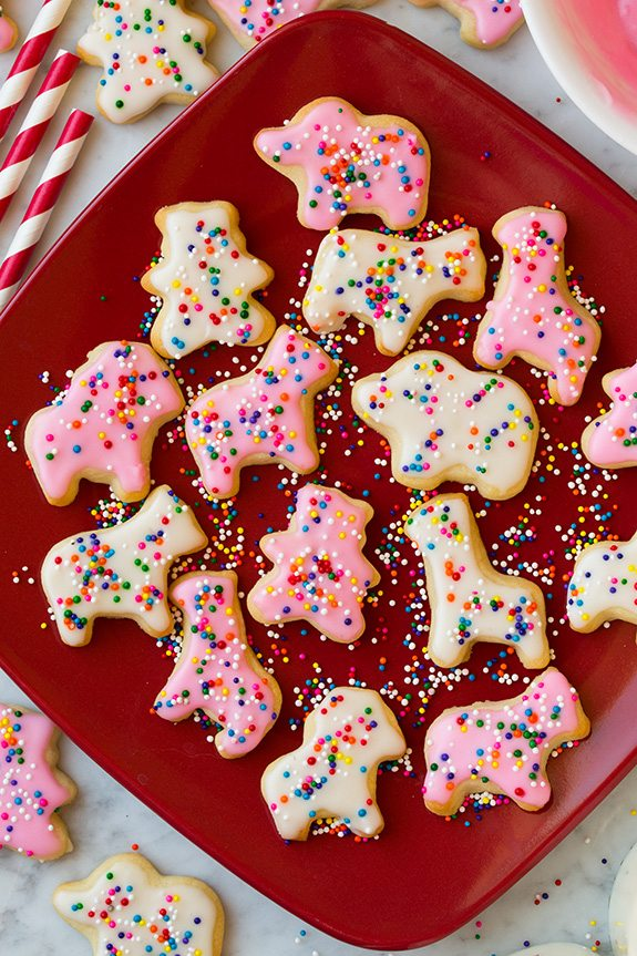 Homemade Circus Animal Cookies on a red plate