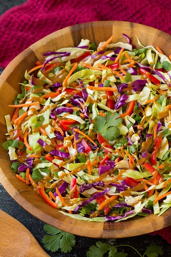 Asian slaw in wooden serving bowl