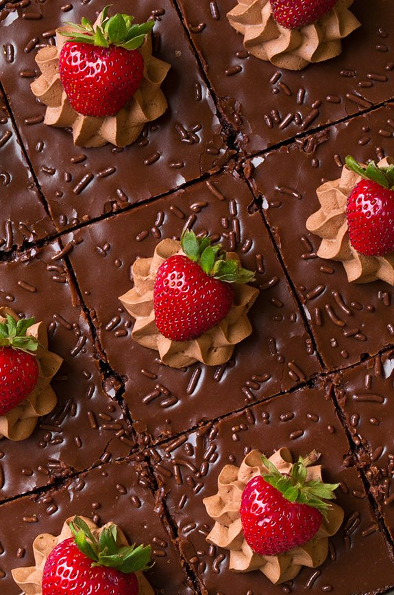 Chocolate Sheet Cake Squares with chocolate mousse and strawberries