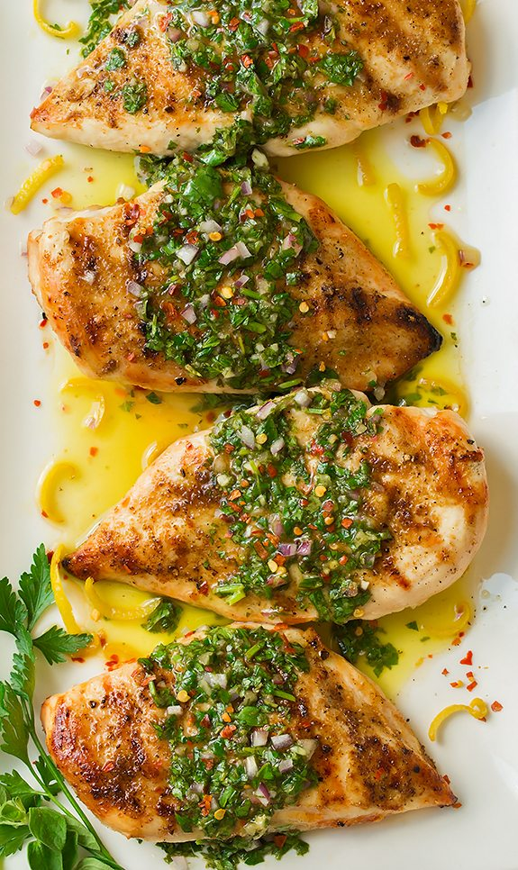 Grilled Chimichurri Chicken on white platter