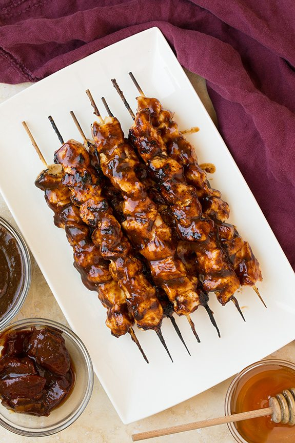 Honey Chipotle BBQ Chicken Skewers | Cooking Classy