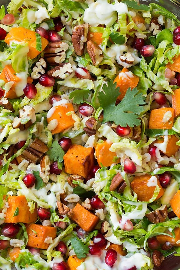 Shredded Brussels Sprout and Pomegranate Salad   Cooking Classy