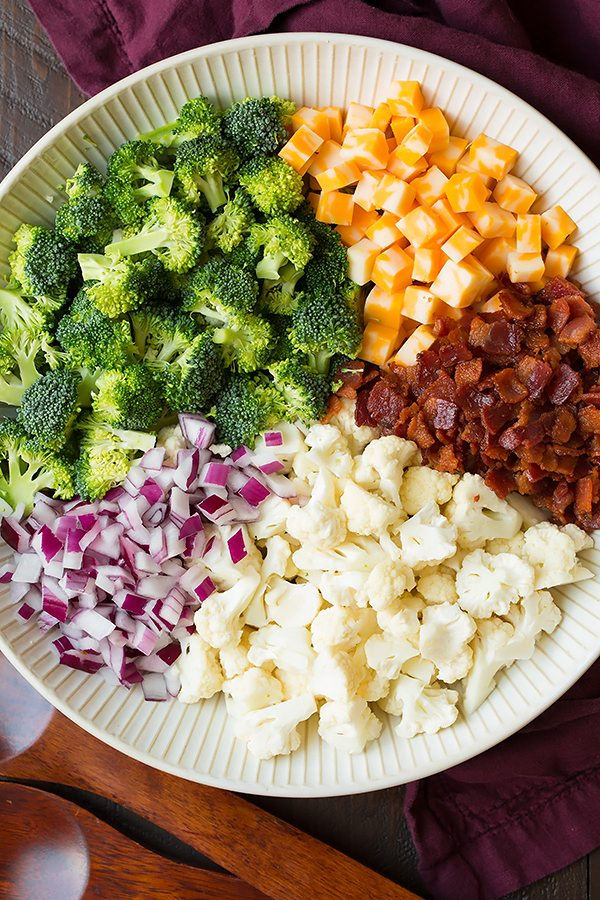 Broccoli And Cauliflower Salad With Creamy Dressing Cooking Classy