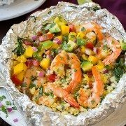 Shrimp and Couscous Foil Packets with Avocado-Mango Salsa | Cooking Classy
