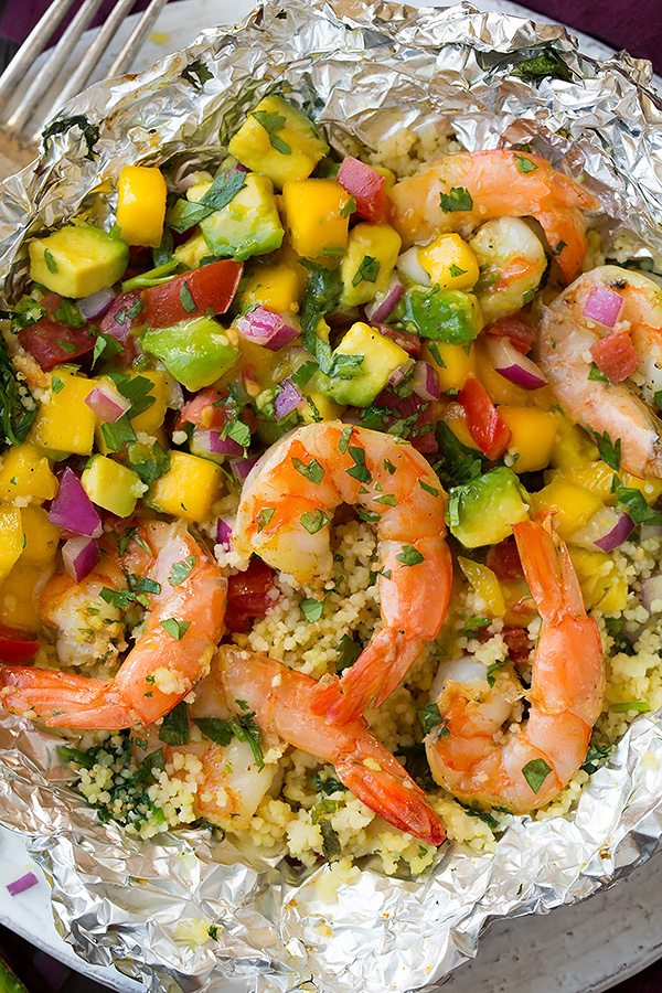 Shrimp and Couscous Foil Packets with Avocado-Mango Salsa   Cooking Classy