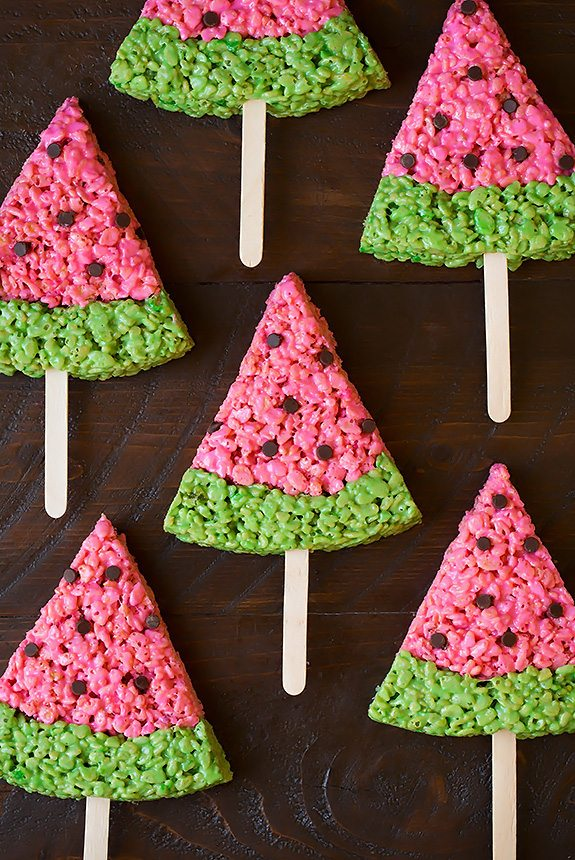 Watermelon Rice Krispies Treats | Cooking Classy