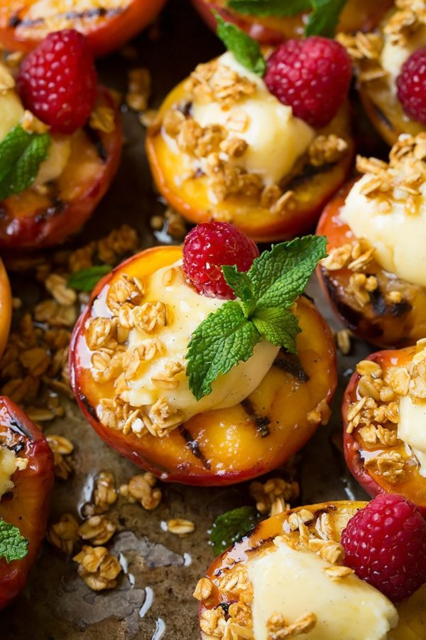 Grilled Peaches with Vanilla Bean Mascarpone, Honey and Granola   Cooking Classy