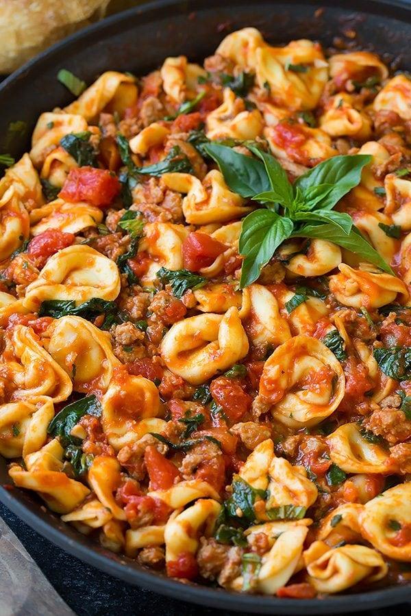 One Pan Turkey Sausage Spinach and Marinara Tortellini | Cooking Classy