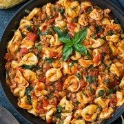 One Skillet Turkey Sausage Spinach and Marinara Tortellini