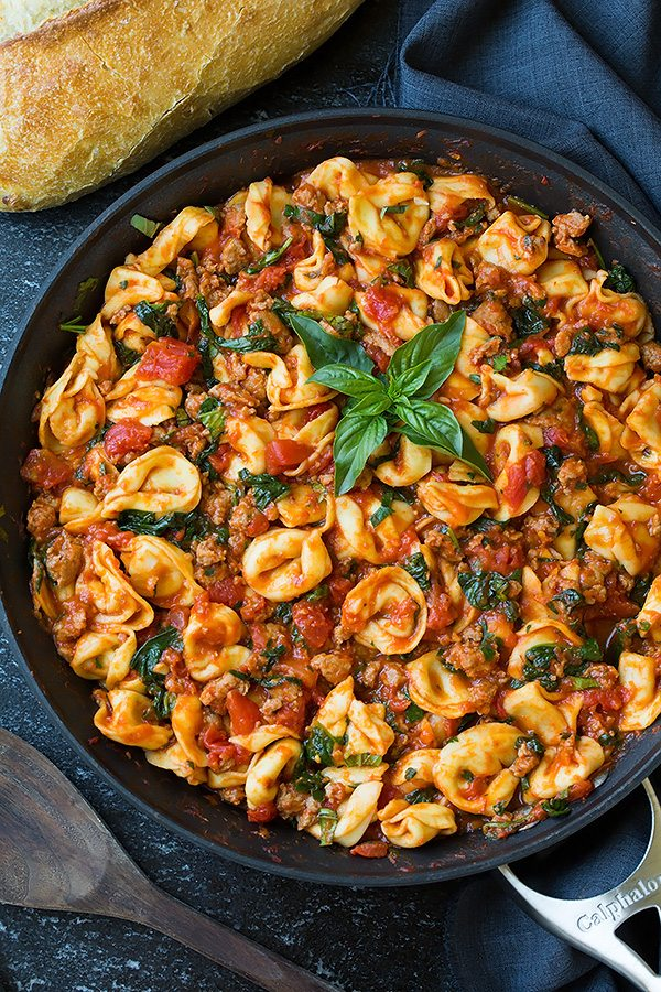 One Pan Turkey Sausage Spinach and Marinara Tortellini